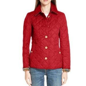 Burberry military red frankby quilted jacket